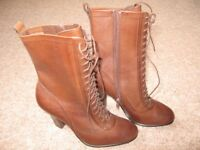 Size 3 M&S Leather Brown Boots Brand New
