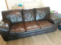 Leather sofa, dark brown, large