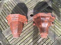 2 x Victorian Cast Iron Drain Top 'Flower Baskets'