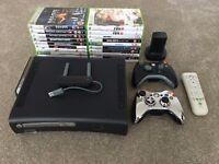 Microsoft Xbox 360 Elite 120 GB Matte Black Console w/ 20 games + 2 controllers