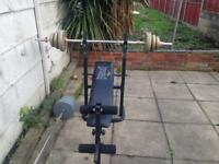 Weight bench with two bars and weights