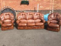 Brown leather Italian leather sofa and chairs