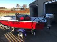 Dory type boat for sale with trailer and 8hp Honda motor