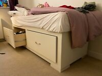 Free single bed: wooden, custom-built bed with drawers (base only)