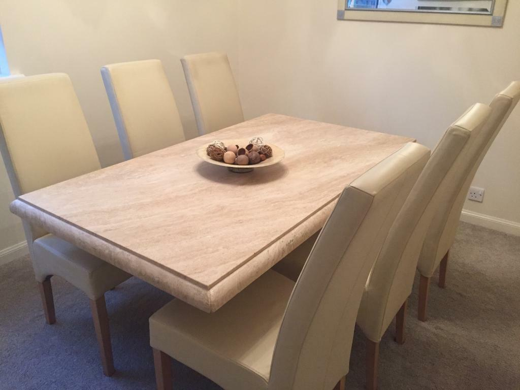 Sterling Travertine Marble Dining Table And 6 Cream
