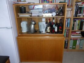 Two piece wooden display cabinet