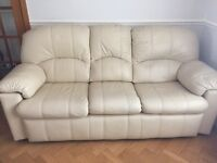 3 piece ivory leather suite