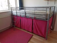 Child's Midsleeper Metal Bed Frame with Pink Tent
