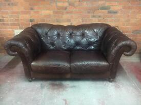 Barker + Stonehouse Natuzzi Chesterfield Sofa in Vintage Brown - UK Delivery