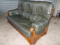 Antique Green Leather 3-1-1 Oak Frame Suite (Sofa)