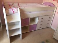Child's Single Mid Sleeper Bed with Drawers and Bookcase