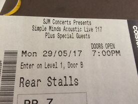 2 x tickets to see Simple Minds at Colston Hall Bristol