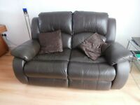 2 seat reclining brown leather settee