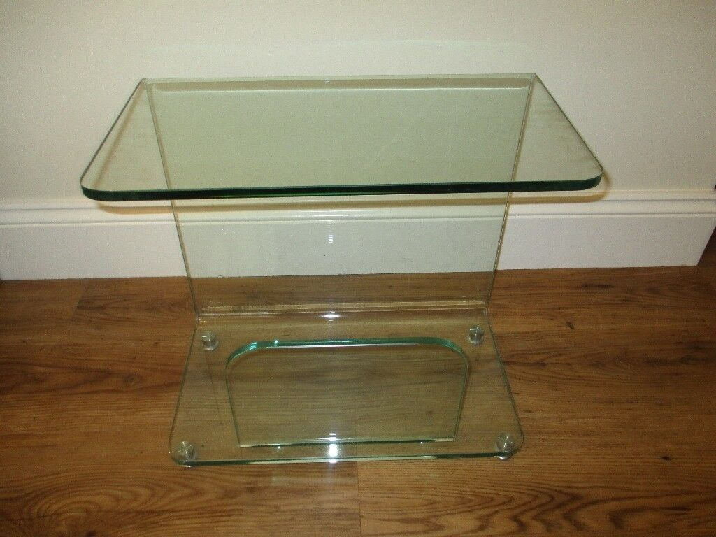 700e78a5ed Designer Solid Glass Magazine Rack or Side table - Perfect Condition ...
