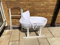Shnuggle Moses Basket with 2 Stands and 4 Fitted Sheets.