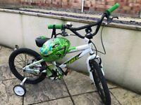 Boys bike with stabilisers & Helmet