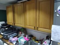 Oak Kitchen Units with real oak doors. Superior Quality. 10 Units available, incl sink and worktop.