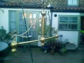 Ornate brass three branch light fitting