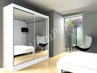 BRAND NEW 2 DOOR BERLIN WARDROBE WITH MIRROR, DRAWERS, SHELVES, RAILS IN BLACK WHITE OAK AND WENGE
