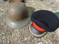 WW2 STEEL HELMET 1941 AND OFFICERS HAT