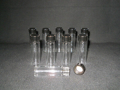 Lot 10 Kimble Opticlear 16mm X 50 Glass 1.5 Dram Sample Vials Screw Caps