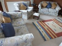 3 piece suite with scatter cushions and footstool