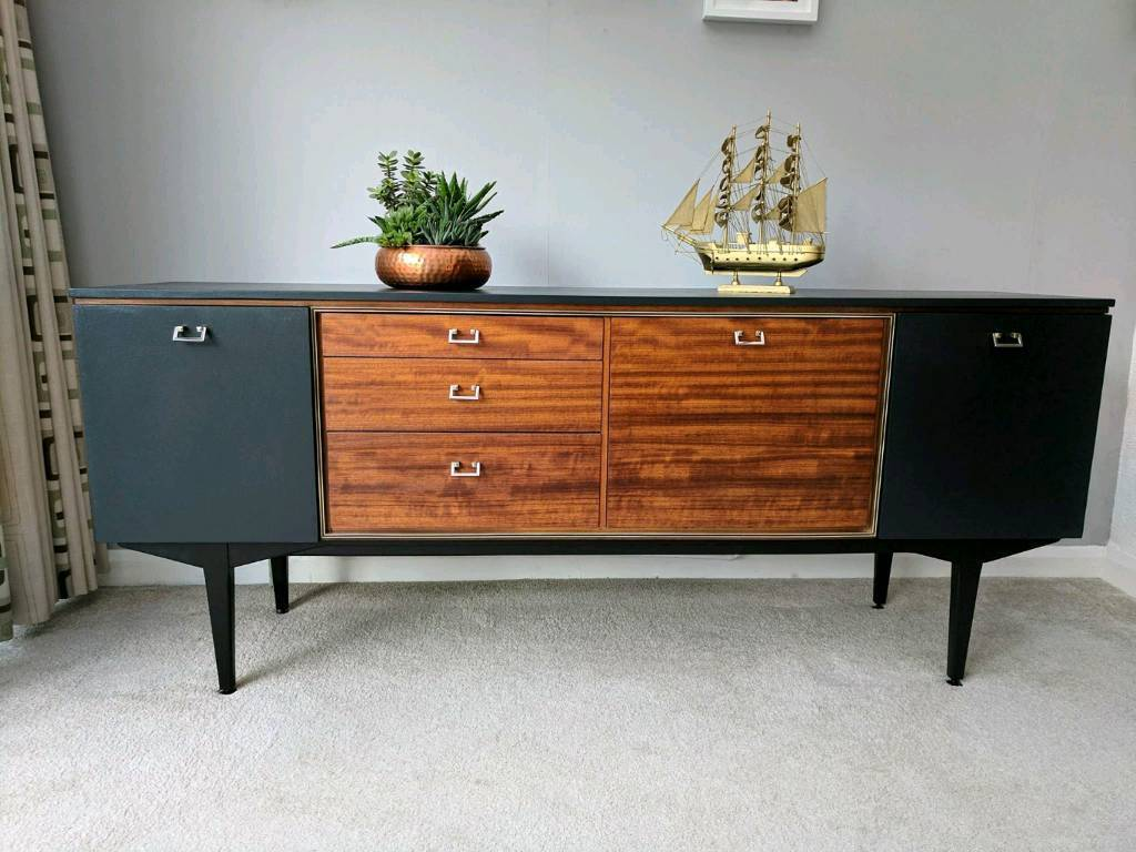 Vintage mid century teak sideboard by nathan 1960 upcyclep with farrowball paint