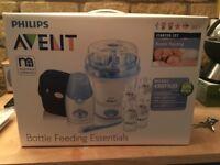 NEW Avent Bottle Feeding Starter Set - Includes Digital Steriliser & Bottle Warmer