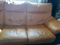 DFS orange and black leather 3 seaters sofa, good condition, little marks