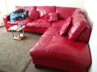 Large modular leather sofa