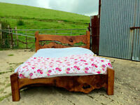 Kingsize Wooden Bed Frame - Hand Crafted From Oak Wood fallen on Glastonbury Tor
