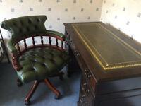 Antique mahogany reproduction pedestal desk and captains chair