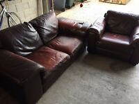 Natuzzi Brown leather Sofa and Armchair