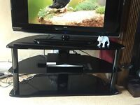 TV black stand - glass and wood