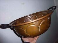 Vintage Large Copper Bowl/cooking Pot/Kettle Cauldron with Iron Handles