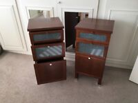 Bedside cabinets in wood finish with glass insets