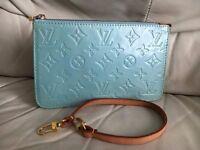 Louis Vuitton leather vernis turquoise hand bag shoulder bag clutch