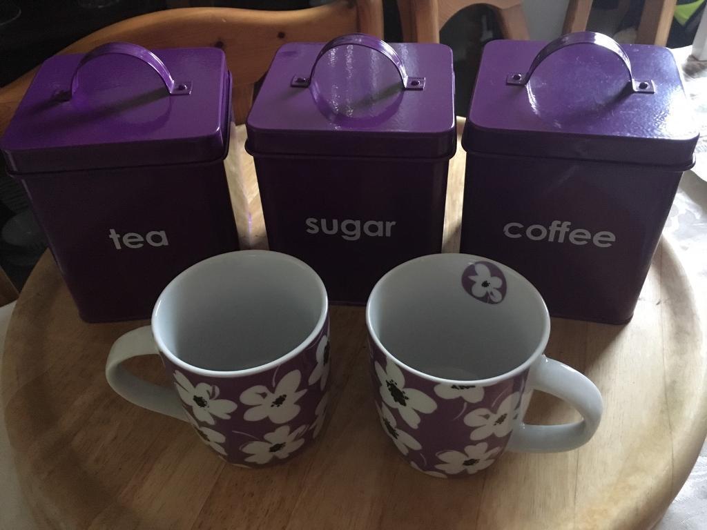 Purple Tea Coffee Sugar Canisters 2 Mugs