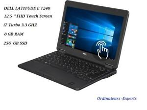 DELL Latitude E 7240 12.5'' TouchScreen FHD anti-glair Intel i7 Turbo 3.3 GHZ 8GB 256GB SSD, lighted keyboard Office PRO