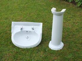 Bathroom Sink and Pedestal, White