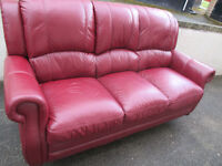 red sofa +1 chair woodstock vgc used in real leather no pvc here