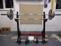 Olympic Weights Set including 7ft Bar, Dumbells, Squat Stand and Dip Rack