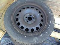 Vw beetle 4x steel wheels and tyres