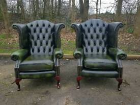Chesterfield genuine leather wingback chairs. £350 EACH!