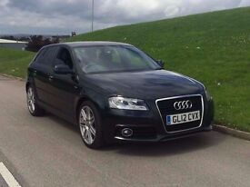 2012 A3 2.0 TDi S Line Sportback 5dr black***ONE OWNER**FSH***lthr**satnav**high miles NOT GOLF LEON
