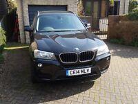 2014 BMW X3 X Drive 20D SE Black with black leather interior, FSH, 12 mths MOT