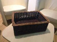 7 Dark Small Wicker Baskets - Produce Display & Storage (30cm x42cm x16cm) - MUST GO