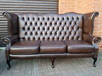 Chesterfield genuine leather 3seater sofa in EXCELLENT condition throughout. BARGAIN!