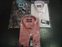 Small Job Lot of 3 Men's Medium Slim Fit formal Shirts. 2 with button cuffs, 1 with cufflinks
