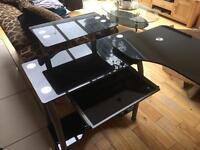 Black glass computer desk